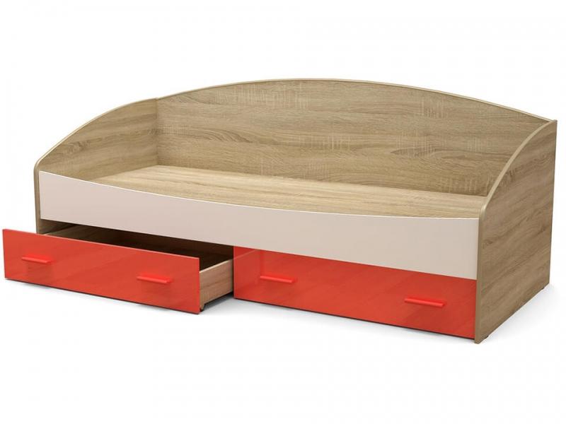 Кровать Максимка-2 с ящиками Дуб сонома - МДФ Белый глянец - МДФ Коралл