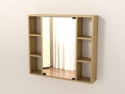 Полка с зеркалом 76 Дуб сонома