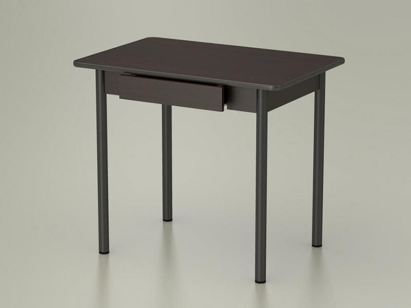 Стол обеденный закругленный с ящиком Венге - ноги коричневые