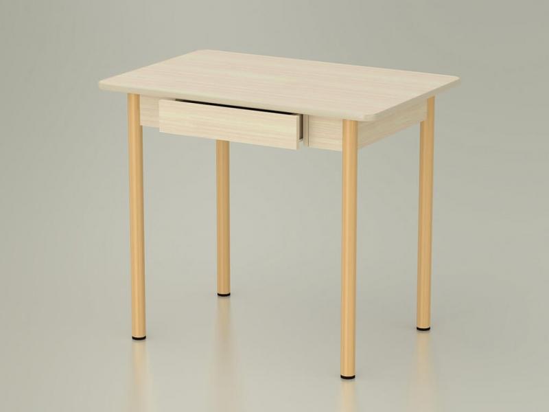 Стол обеденный закругленный с ящиком Дуб млечный - ноги крем
