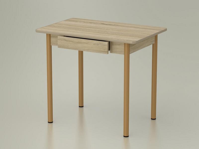 Стол обеденный закругленный с ящиком Дуб сонома - ноги коричневые