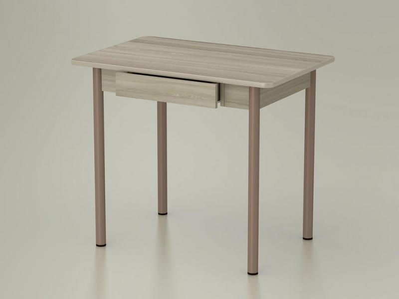 Стол обеденный закругленный с ящиком Ясень шимо светлый - ноги капучино