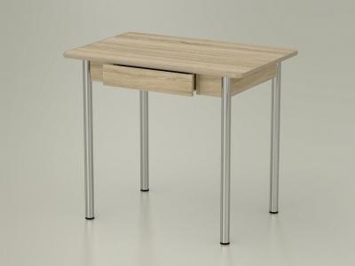 Стол обеденный закругленный с ящиком Дуб сонома - ноги хром