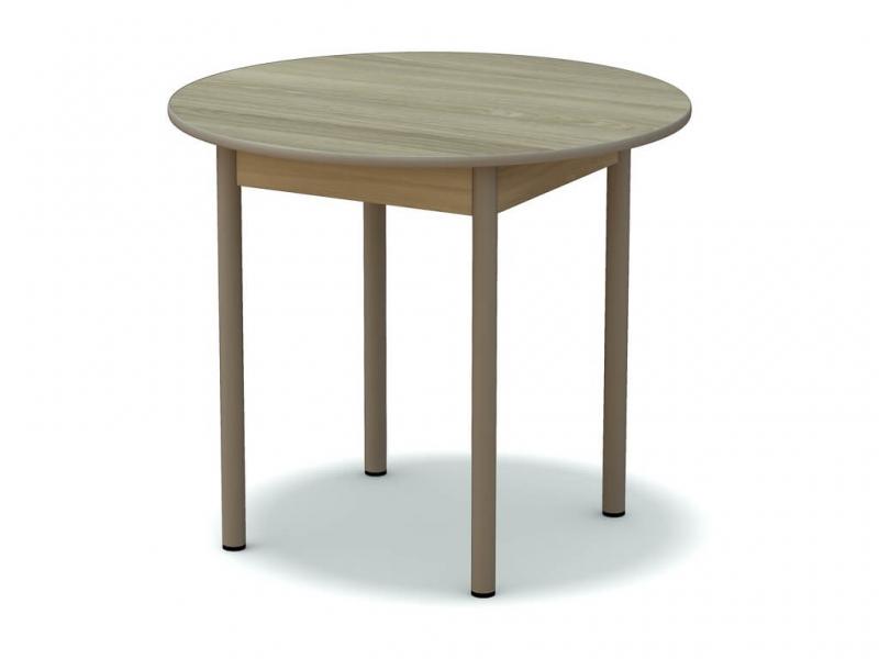 Стол обеденный круглый Ясень шимо светлый - ноги капучино
