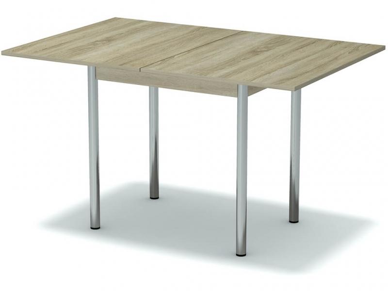 Стол обеденный раскладной Дуб сонома - ноги хром