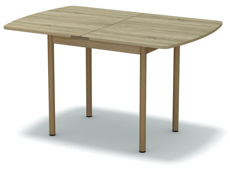 Стол обеденный раскладной закругленный Дуб сонома - ноги бежевые