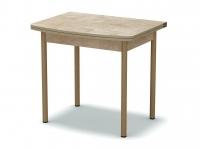 Стол обеденный раскладной закругленный Светлый камень - ноги бежевые