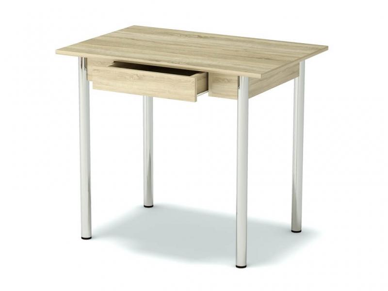 Стол обеденный с ящиком Дуб сонома - ноги хром