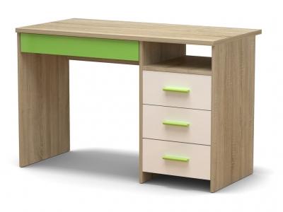 Стол письменный СП-3 Н Дуб сонома - МДФ Белый глянец - МДФ Зелёное яблоко