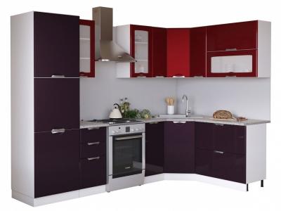 Угловая кухня Равенна Вива 2,25х1,65 бордо/фиолет