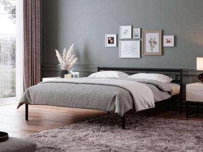 Кровать разборная металлическая с ортопедическим основанием Мета 1600 черная